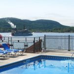 Looking South on Lake George as a steam boat passes by