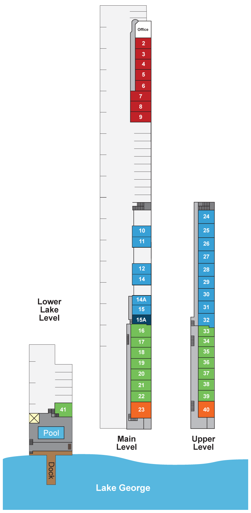 Propert layout illustration showing lower lake level with room 41 and pool; main level with the office and rooms grouped 2-9, 10-11, 12 and 14, 14a and 15, 15a, 16-22 and 23; and upper level with grouped rooms 24-32, 33-39 and room 40.