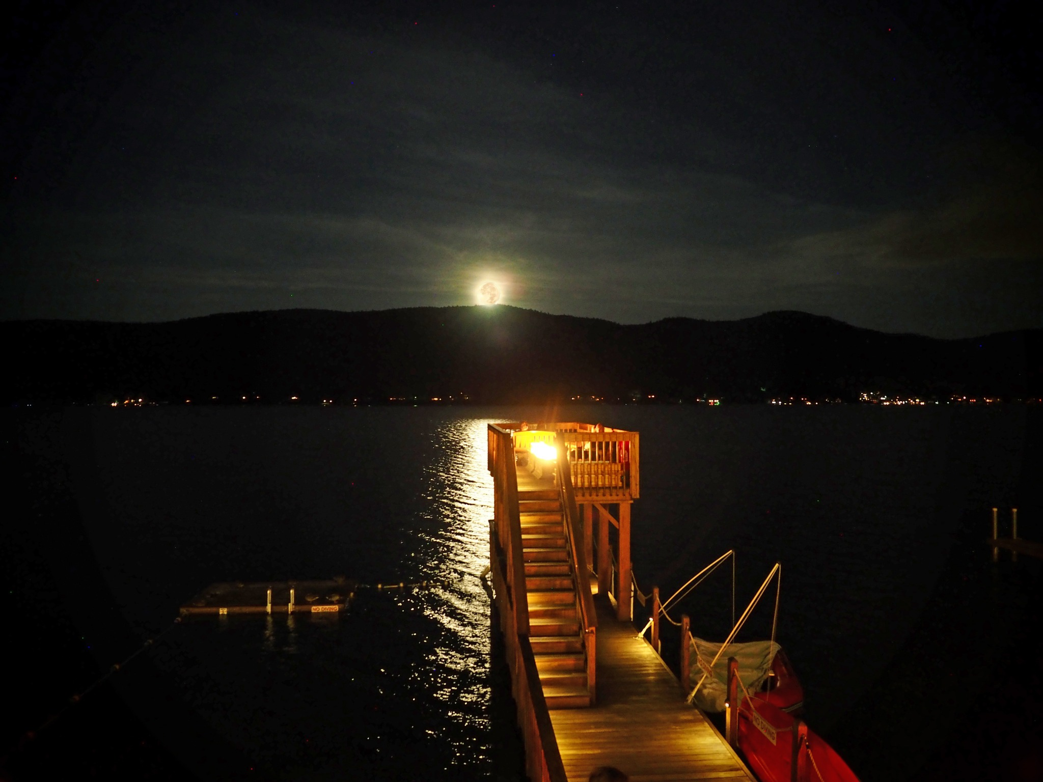 The Lake Motel observation deck looking at a full moon